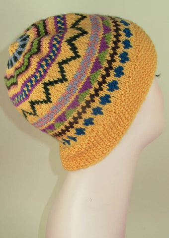 Simple Fairisle Slouch Hat by MadMonkeyKnits (898) - Digital Version