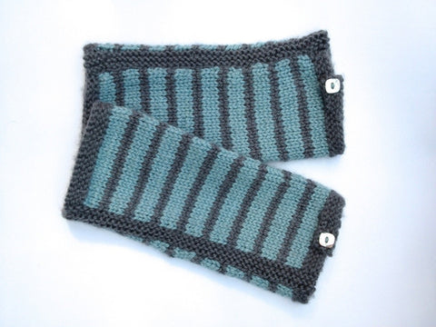 Striped Mitts by Sue Stratford in West Yorkshire Spinners Bluefaced Leicester DK Knitting Kit and Pattern