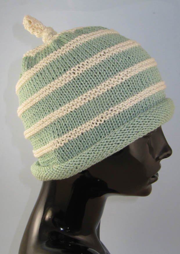 PRINTED INSTRUCTIONS-BABY ROLL BRIM STRIPEY TOPKNOT BEANIE KNITTING PATTERN