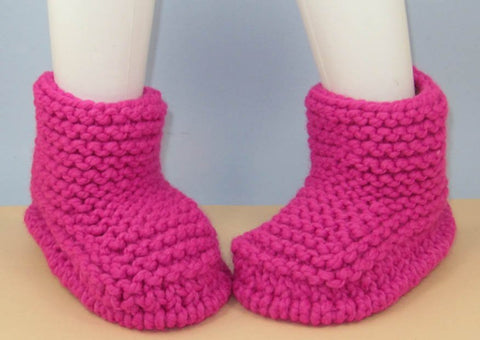 Super Chunky Simple Garter Stitch Ankle Boots by MadMonkeyKnits (965) - Digital Version