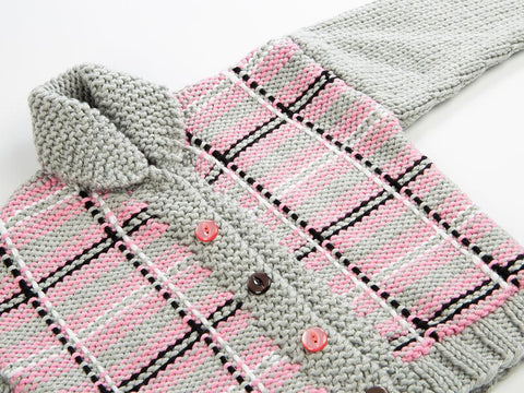 Childs Plaid Jacket by Fran Morgan in Deramores Studio Chunky