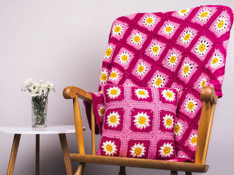 Daisy Granny Square Blanket and Cushion Set Crochet Kit and Pattern