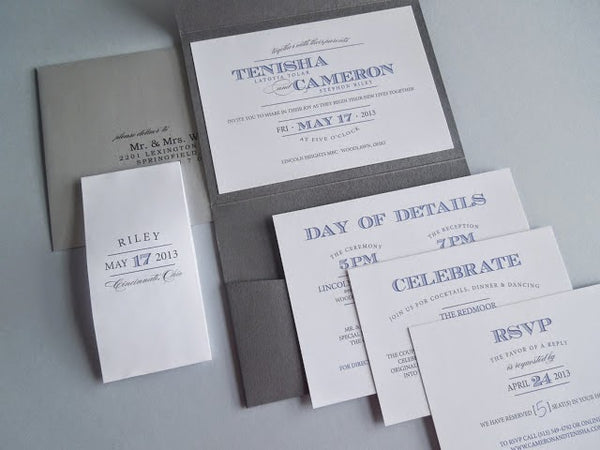 pocketfold wedding invitations with enclosures