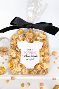 Baby Shower Popcorn Favor Labels for a Girl - Invited Too