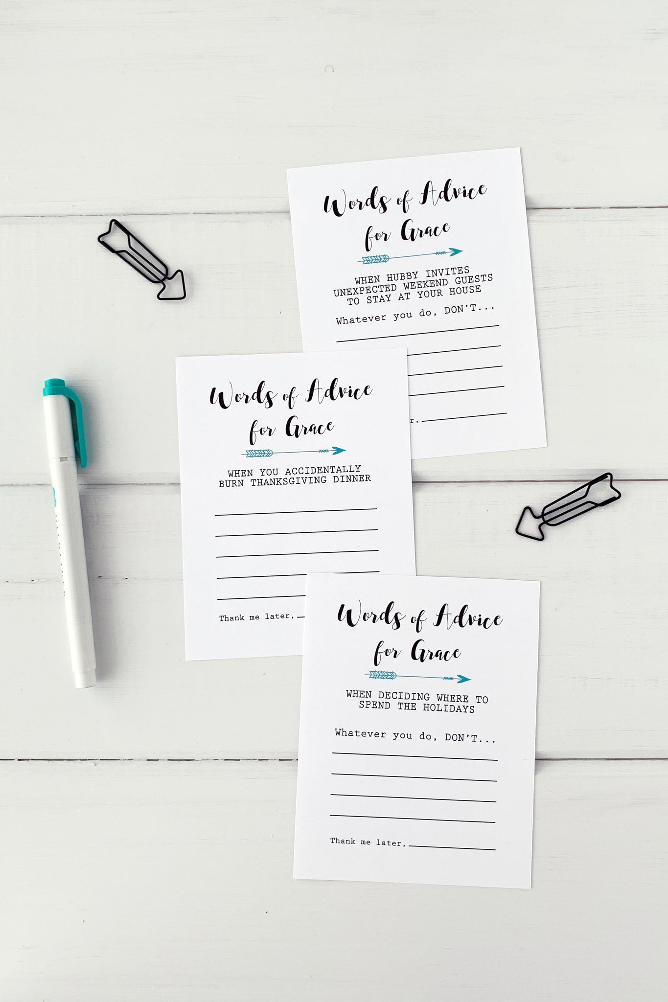 Advice Cards for Bride to Be - Invited Too