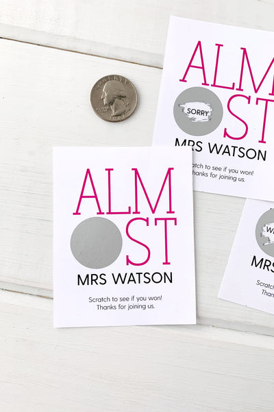 Almost Mrs Bridal Shower Scratch Offs - Invited Too
