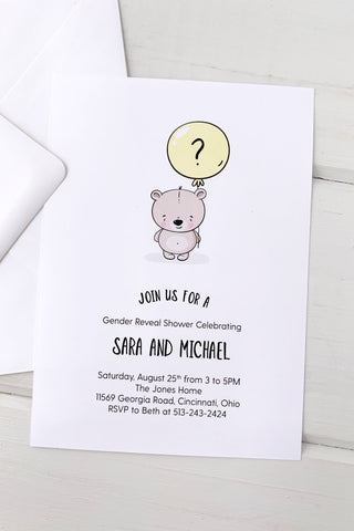 Baby Bear Gender Reveal Invitation - Invited Too
