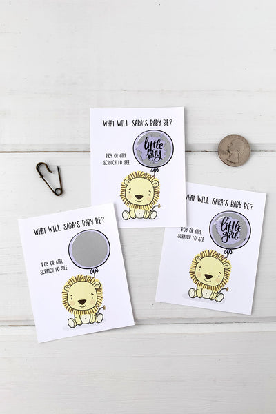 Baby Lion Gender Reveal Baby Shower Scratch Offs - Invited Too