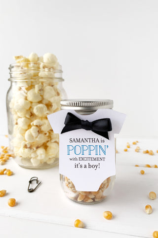 Baby Shower Popcorn Favor Tags It's a Boy - Invited Too