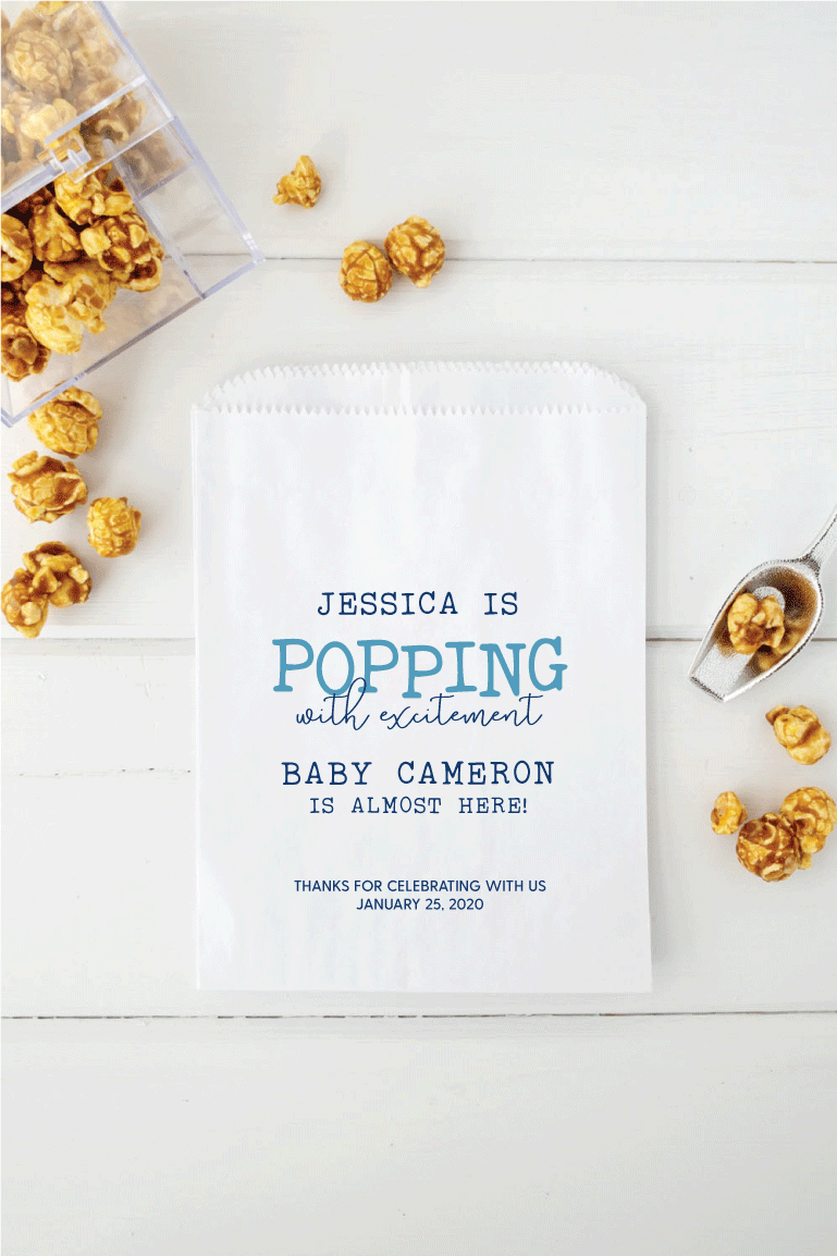 Baby Shower Popcorn Favor Bags - Invited Too
