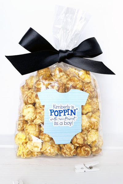 Baby Shower Popcorn Labels It's a Boy - Invited Too