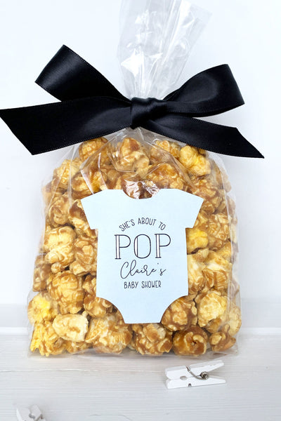 Baby Shower Shes About to Pop Popcorn Labels - Invited Too