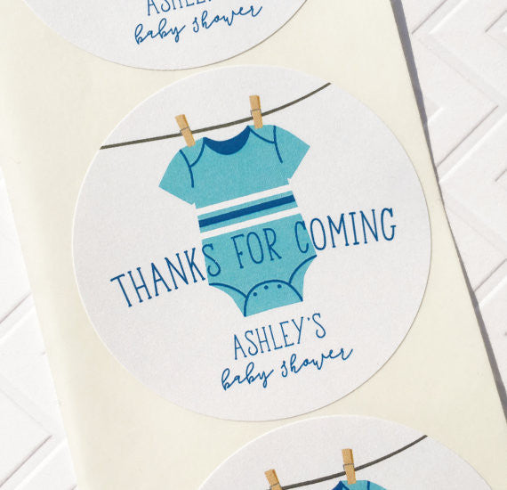 Clothesline Baby Shower Thank You Labels for Boy - Invited Too