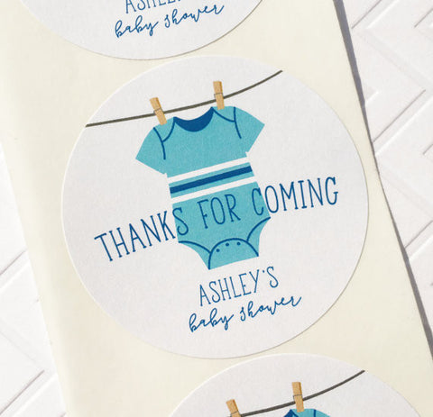 clothesline baby shower thank you label