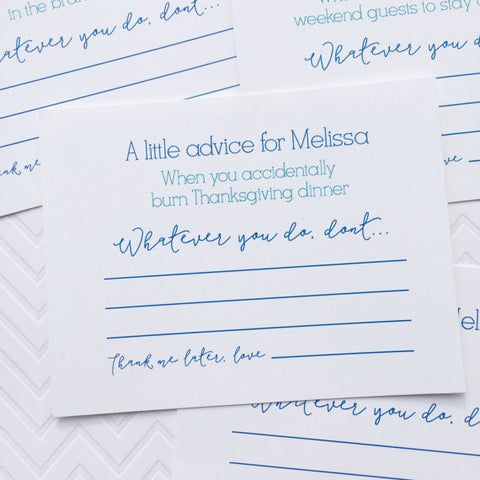 bridal shower wedding advice cards