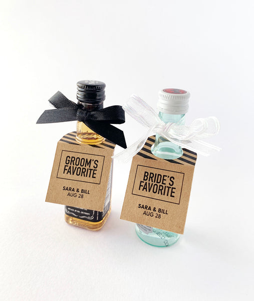 His and Her Favorite Mini Liquor Wedding Favor Tags - Invited Too