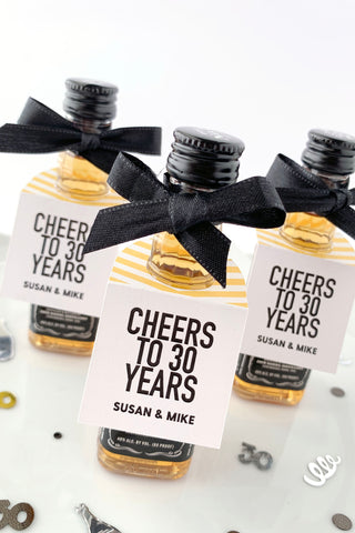 Cheers to 30 Years Wedding Anniversary Party Favor Tags - Invited Too