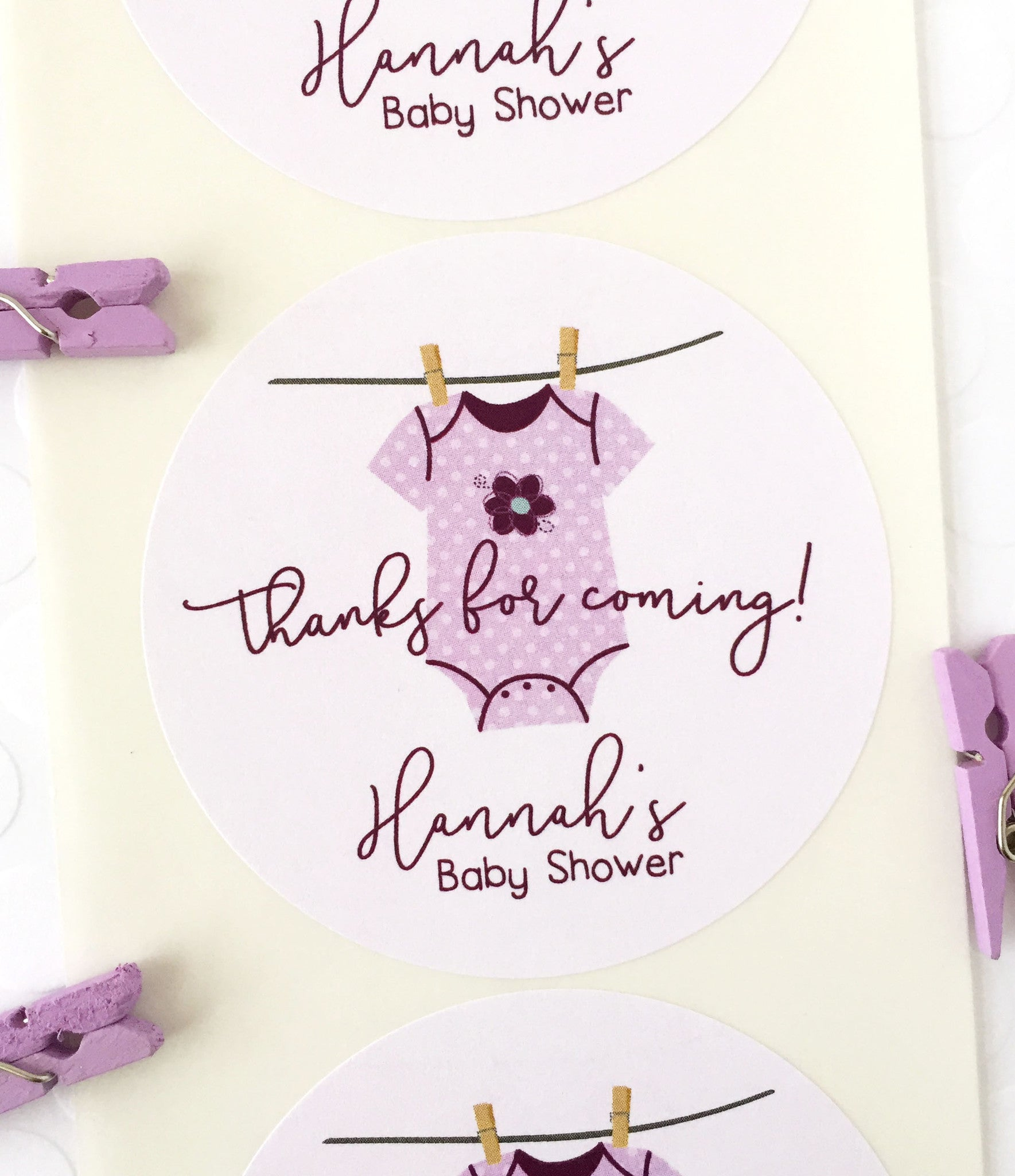 Clothesline Baby Shower Thank You Gift Sticker for Girl - Invited Too