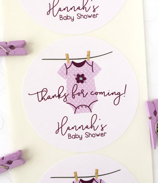 Clothesline Baby Shower Thank You Labels for Girl