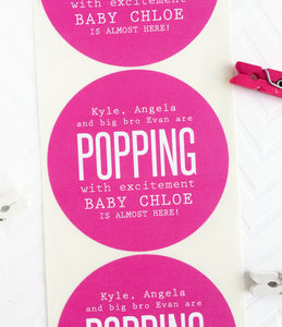Popping With Excitement Couples Baby Shower Favor Labels - Invited Too