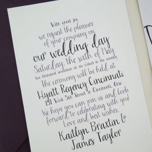 Cursive Wedding Invitation Set - Invited Too
