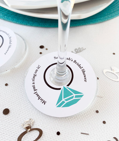 Bridal Shower Diamond Ring Wine Glass Favor Tags - Invited Too