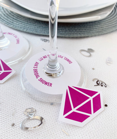 Diamond Ring Wine Glass Tag He Put A Ring On It Bridal Shower Favor Tags - Invited Too