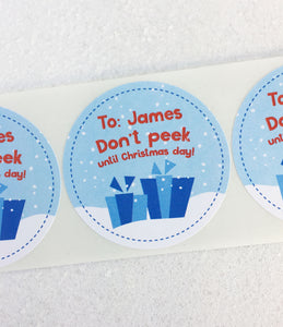 Don't peek personalized Christmas stickers