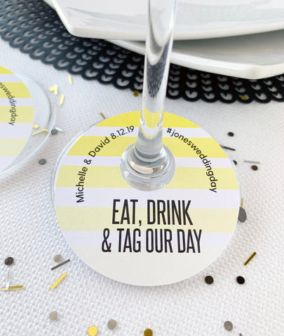 Eat Drink and Tag Your Photos Wedding Hashtags Wine Glass Tags - Invited Too