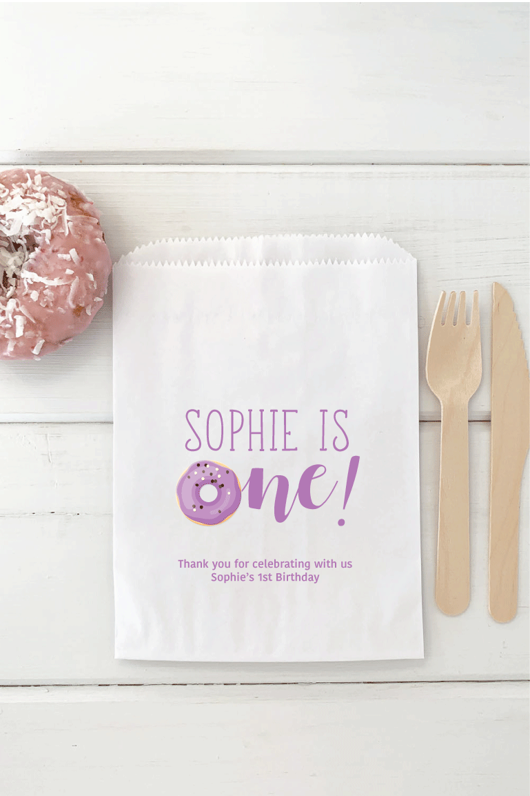 First Birthday Donut Theme Favor Bags - Invited Too