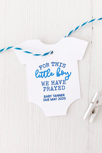 For This Little Boy We Have Prayed Baby Shower Tags - Invited Too