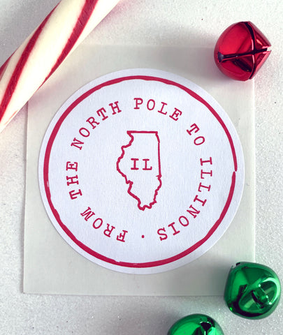 From The North Pole 50 States Christmas Gift Sticker - Invited Too