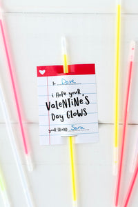 Glow Stick Valentine Card - Invited Too