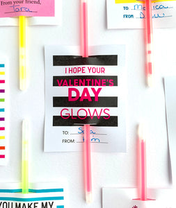 I Hope Your Valentine's Day Glows Printable Valentines for Glow Sticks - Invited Too