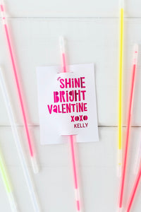Kids Glow Stick Valentine Printable - Invited Too