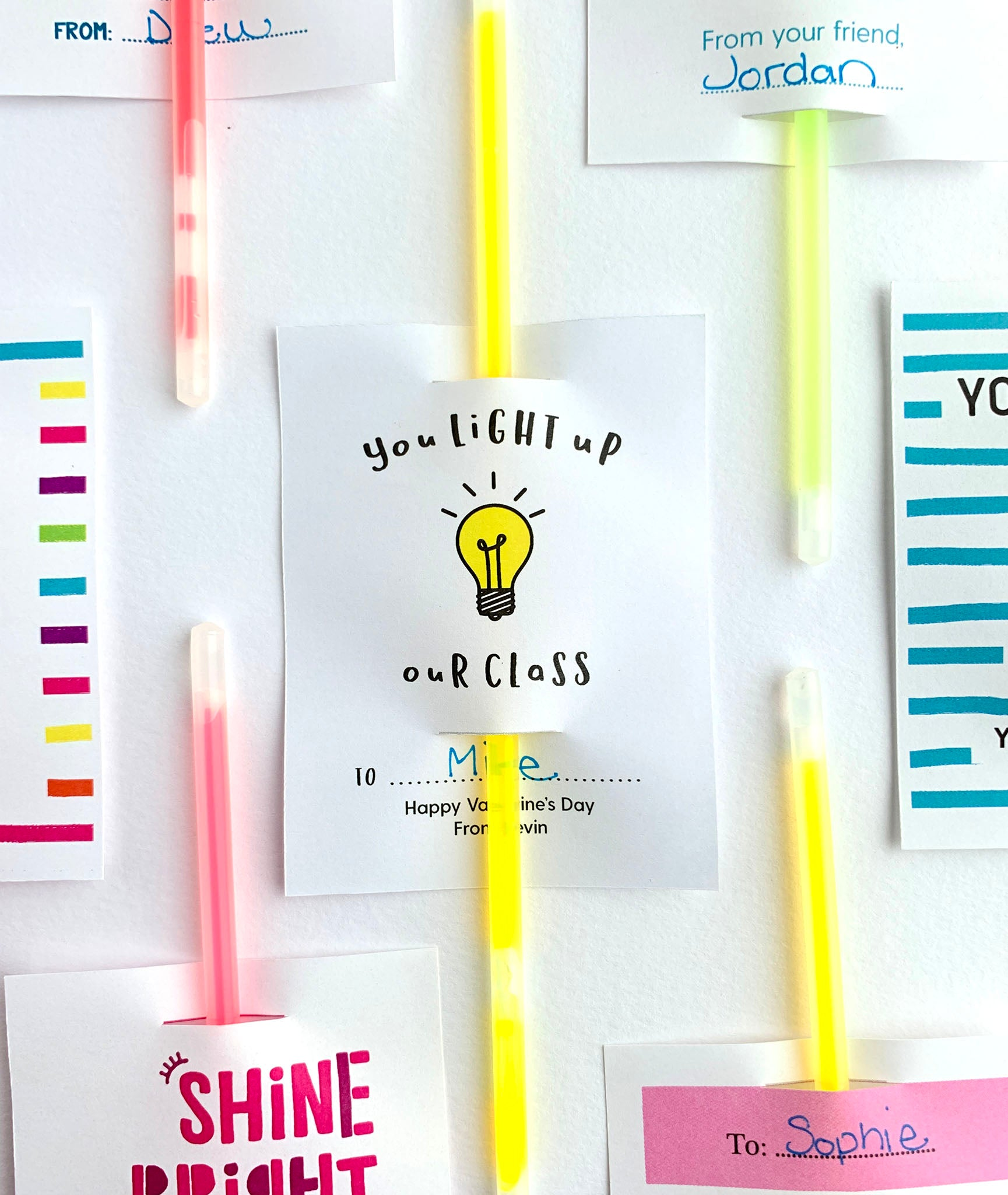 Printable You Light Up Our Class Valentines Day Glow Stick Cards - Invited Too