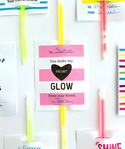 You Make My Heart Glow Printable Valentines Day Glow Stick Cards - Invited Too