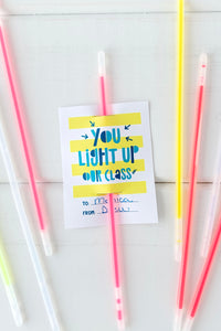 Glow Stick Valentine Cards for Classmates - Invited Too