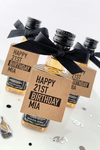 Happy 21st Birthday Mini Bottle Favor Tags - Invited Too