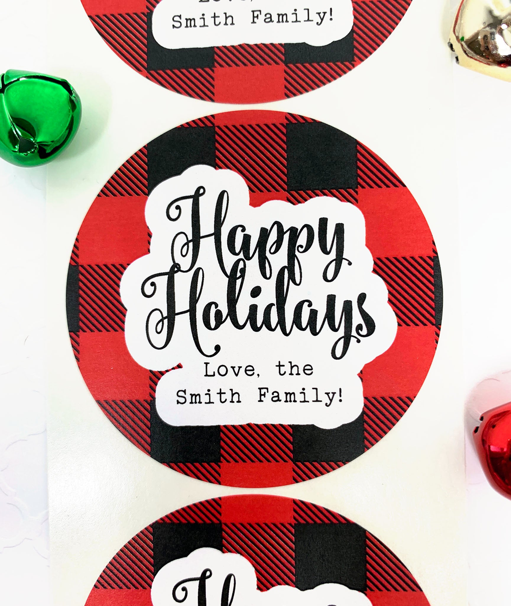 Happy Holidays Gift Label Plaid Christmas Stickers - Invited Too