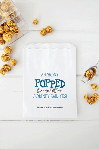 He Popped The Question Popcorn Favor Bags - Invited Too
