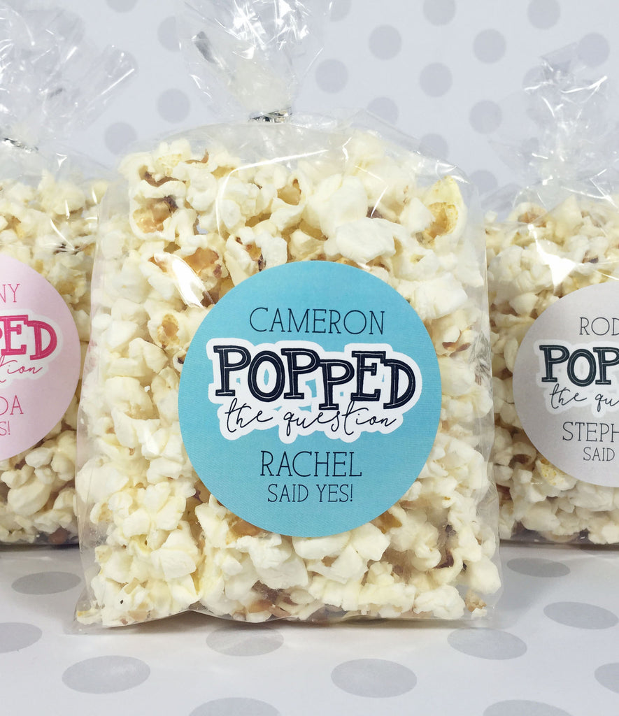 He Popped The Question Sticker, Engagement Party Popcorn Favors - Invited Too