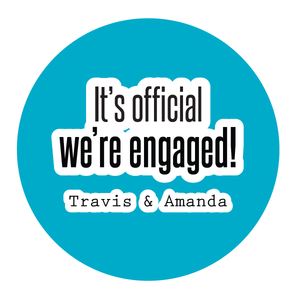 It's Official We're Engaged, Engagement Party Sticker - Invited Too