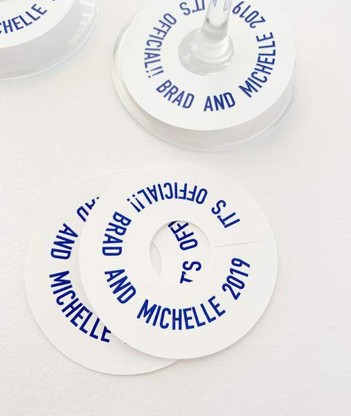 Wine Glass Tag It's Official Were Engaged Engagement Party Favor Tags - Invited Too