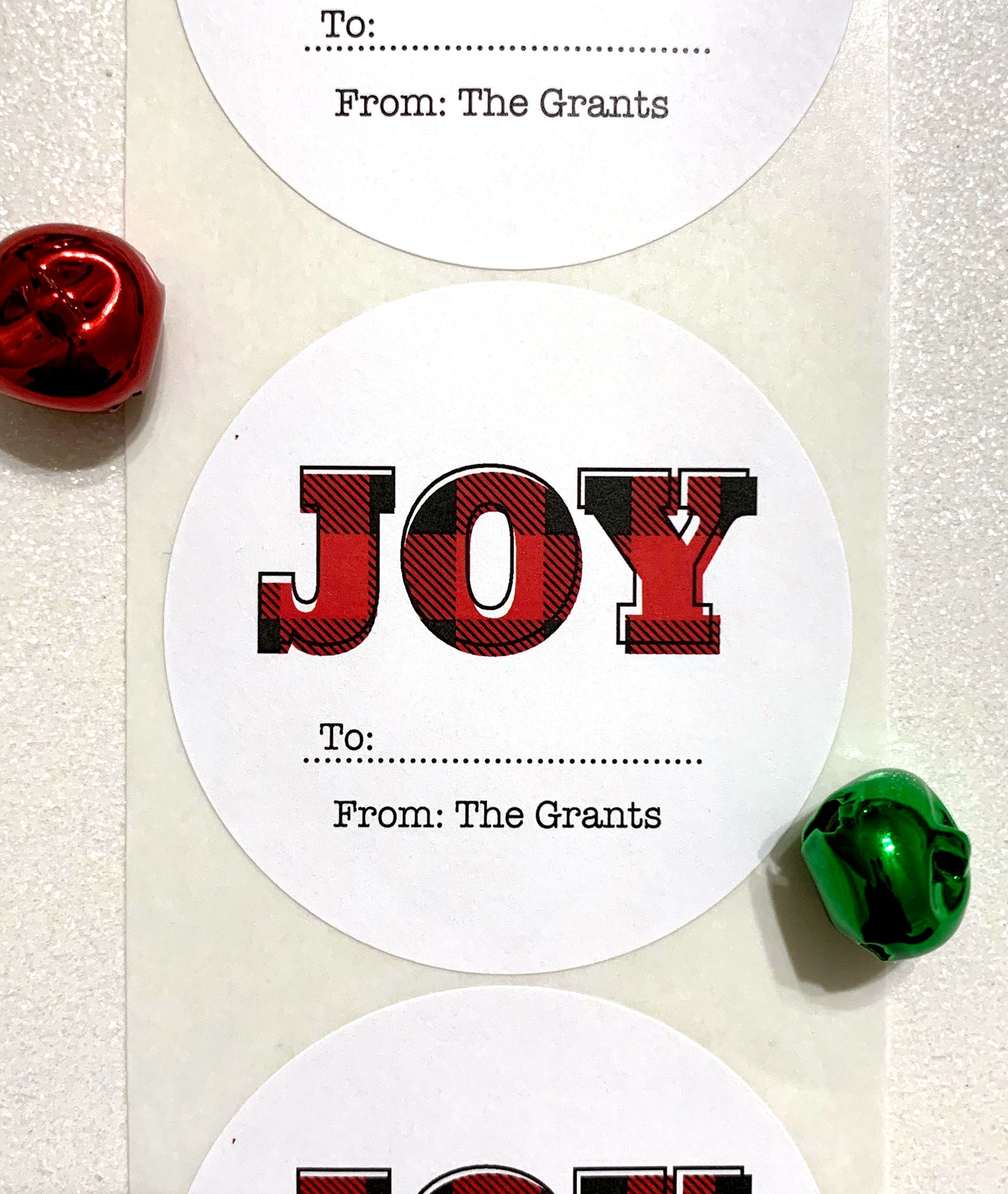 Joy Gift Label Plaid Christmas Stickers - Invited Too