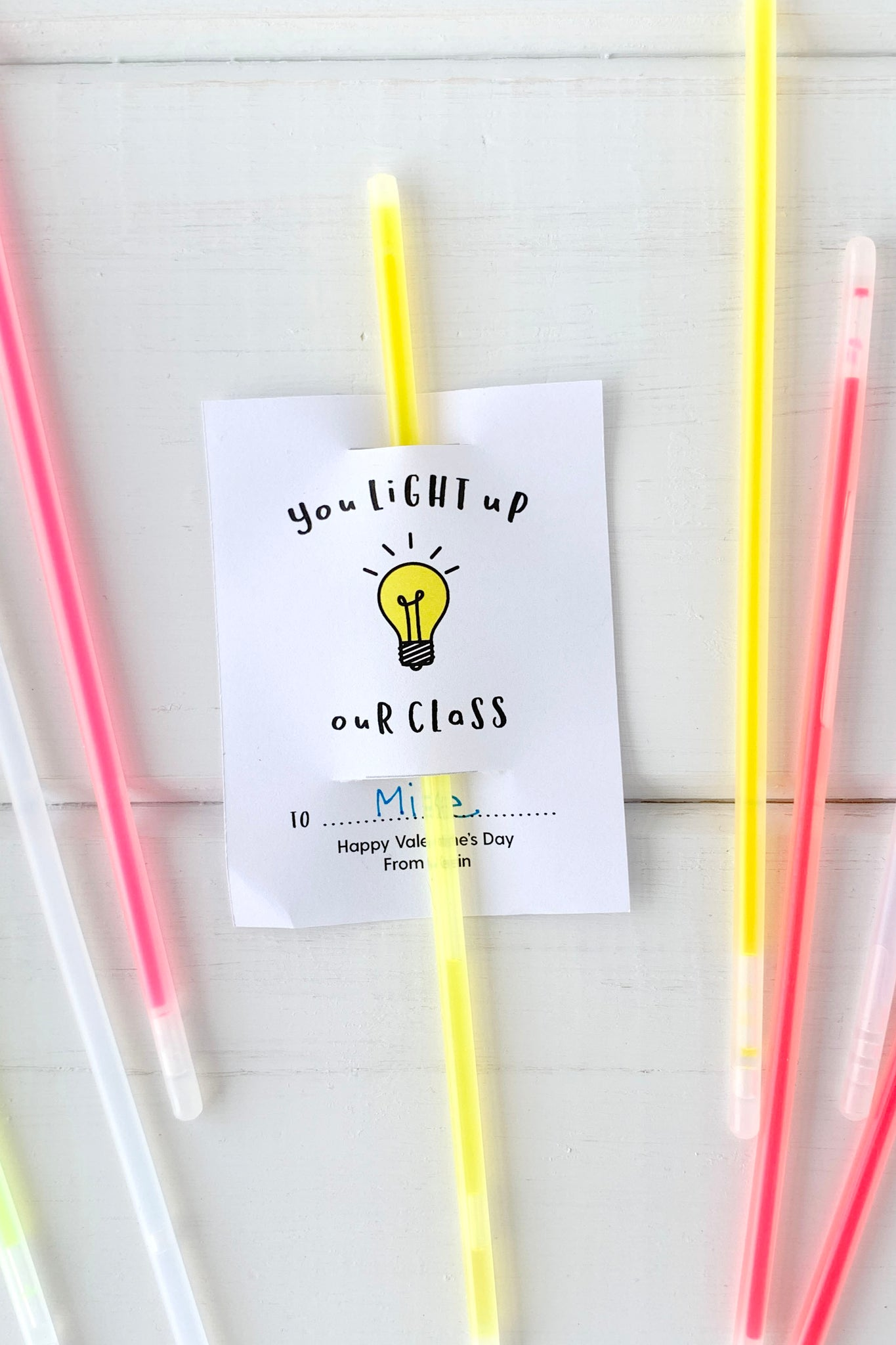 Kids Glow Stick Valentines for Classmates - Invited Too