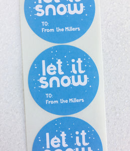 Let It Snow Christmas To From Stickers - Invited Too