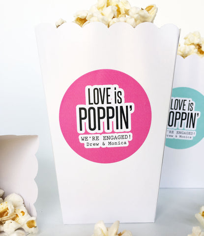 Love is Poppin Popcorn Stickers, Engagement Party Stickers, Engagement Annoucement Favor Labels - Invited Too
