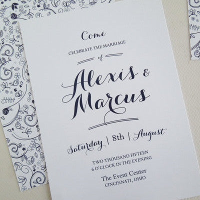 Navy Floral Wedding Invitation Set - Invited Too