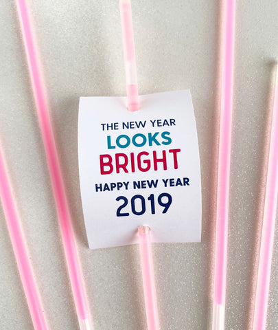 New Years Eve Party Favor Tag for Glow Sticks - Invited Too